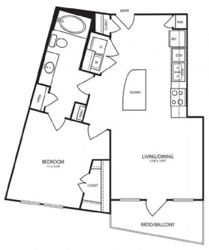 756 sq. ft. A6 floor plan