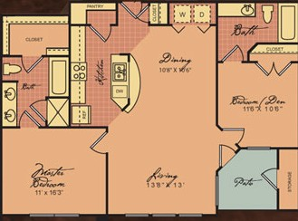 967 sq. ft. B1 30% floor plan