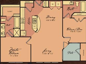 967 sq. ft. B1 30% floor plan
