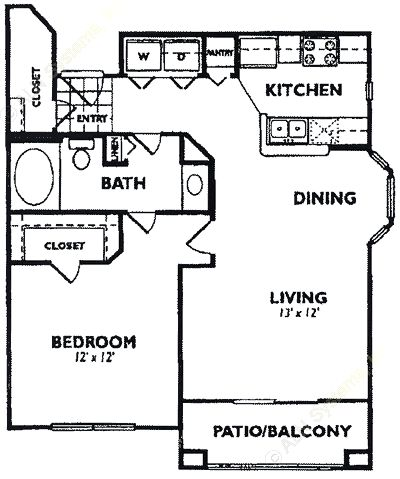 773 sq. ft. A5 floor plan