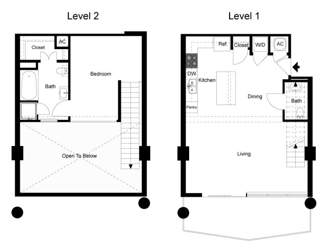 963 sq. ft. Loft 1G floor plan