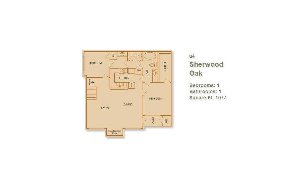 1,077 sq. ft. Sherwood Oak floor plan