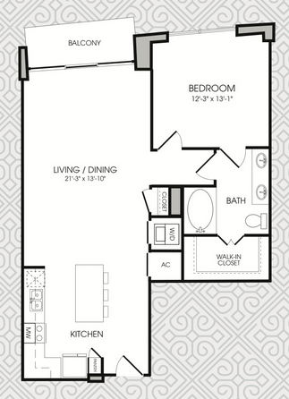 895 sq. ft. A7 floor plan