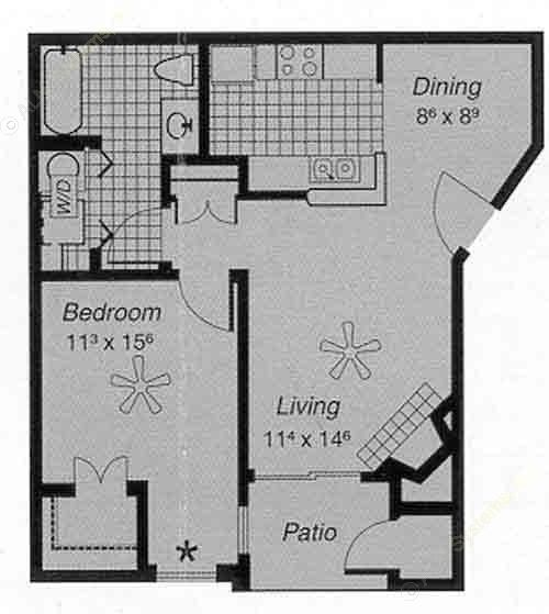 650 sq. ft. I A floor plan