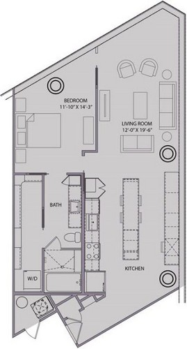1,022 sq. ft. A5 floor plan