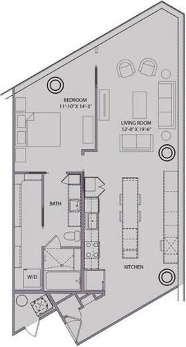 1,022 sq. ft. A5 floor plan