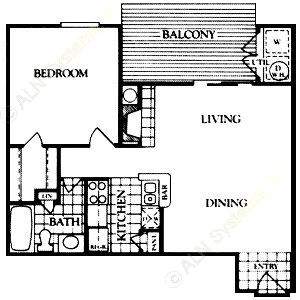660 sq. ft. Abberley floor plan