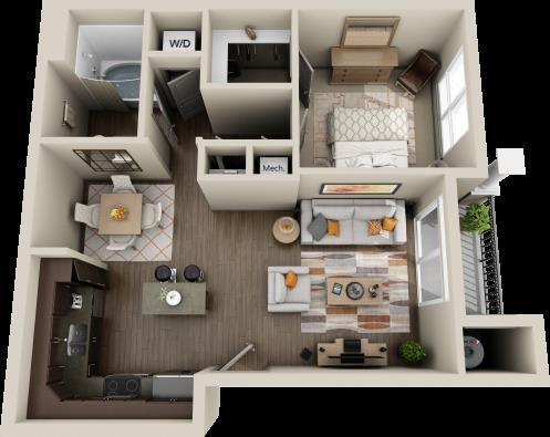 679 sq. ft. Cherry floor plan