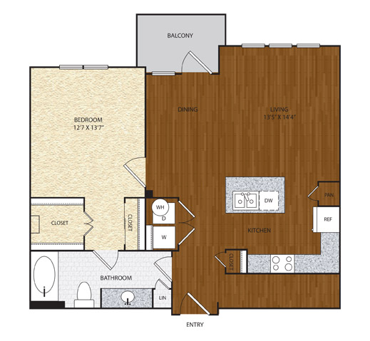 884 sq. ft. A5 floor plan