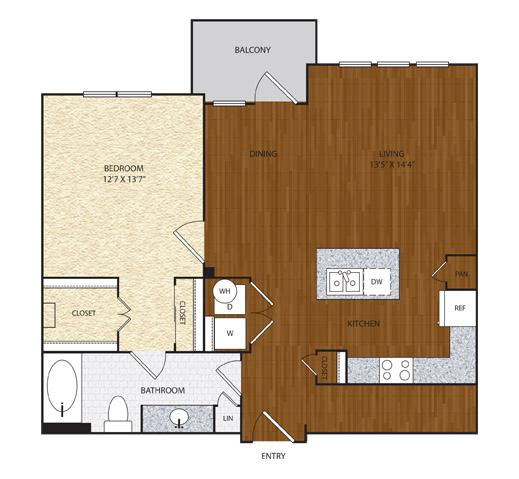 884 sq. ft. A5 floor plan