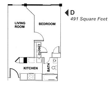 491 sq. ft. D floor plan