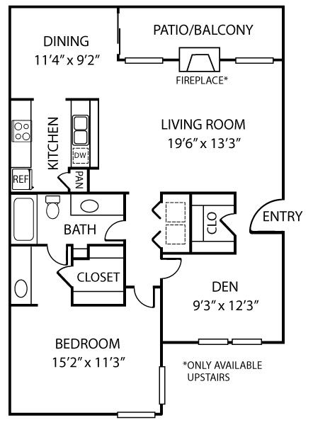 1,067 sq. ft. A3 floor plan