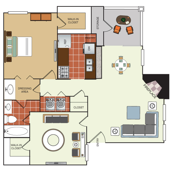 839 sq. ft. 2A floor plan