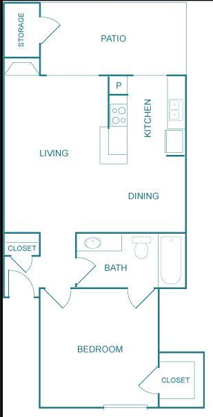 674 sq. ft. B floor plan