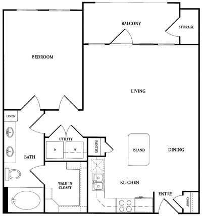 803 sq. ft. CA2S floor plan