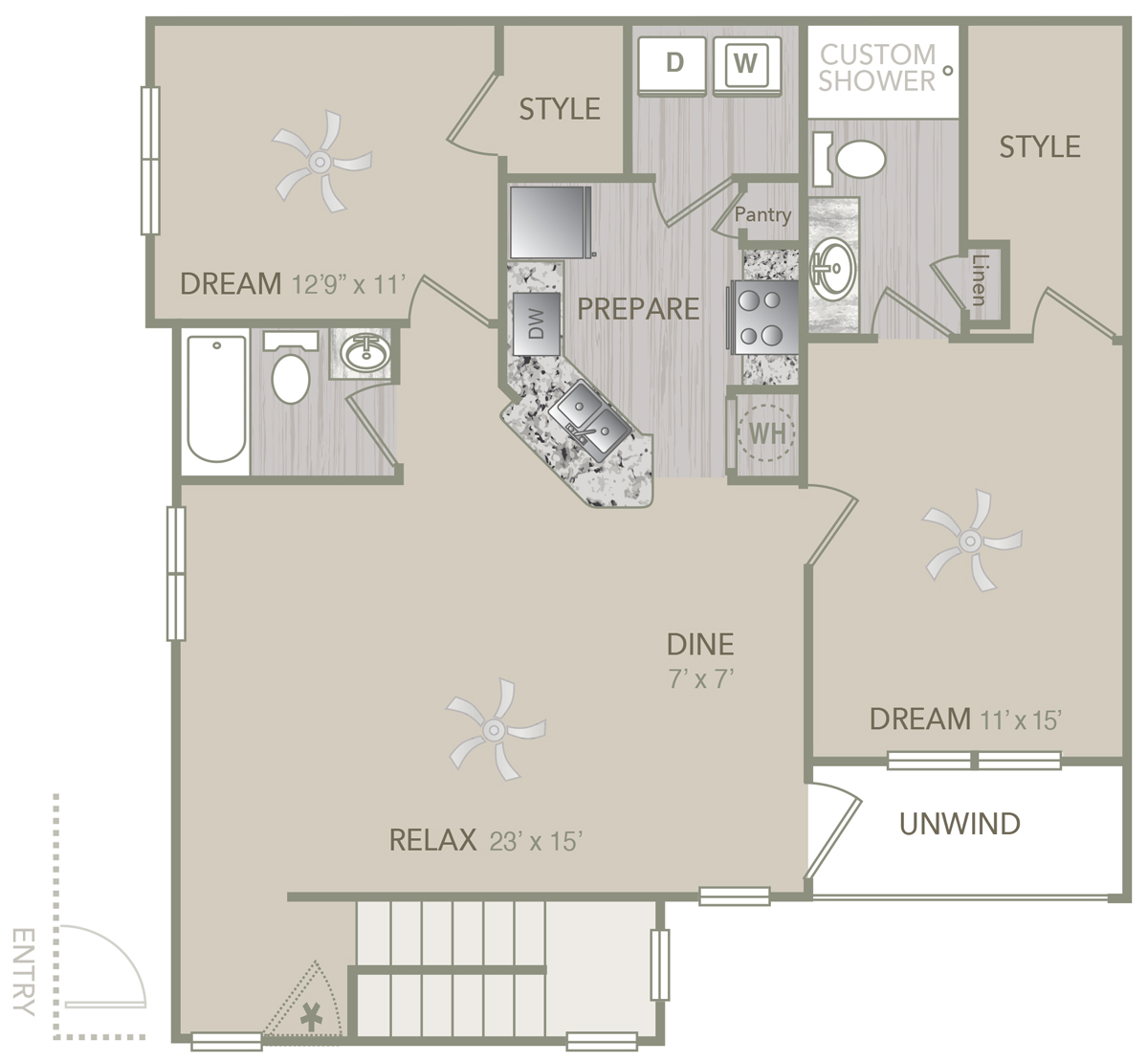 1,282 sq. ft. B1U Alt floor plan