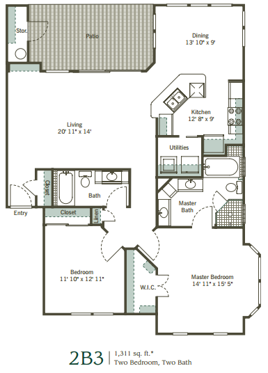 1,311 sq. ft. 2B3 floor plan
