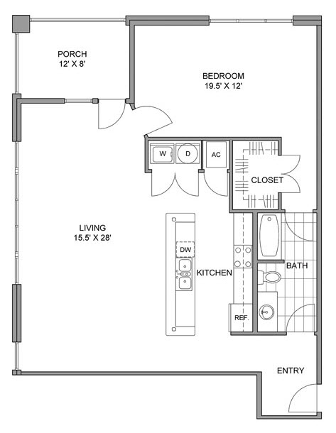 1,111 sq. ft. A floor plan