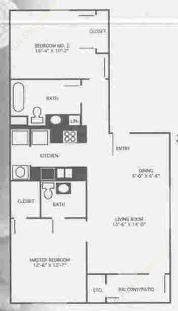 1,078 sq. ft. 3A/60% floor plan