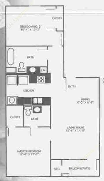 1,078 sq. ft. 3A/60% floor plan