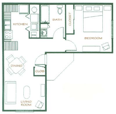 650 sq. ft. 40% floor plan