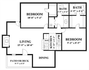 954 sq. ft. WATERFORD floor plan
