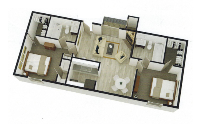 738 sq. ft. B1 floor plan