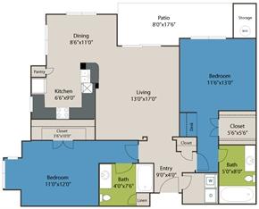 1,166 sq. ft. B2 floor plan