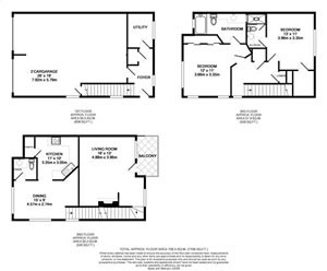1,255 sq. ft. TH3-GAR floor plan