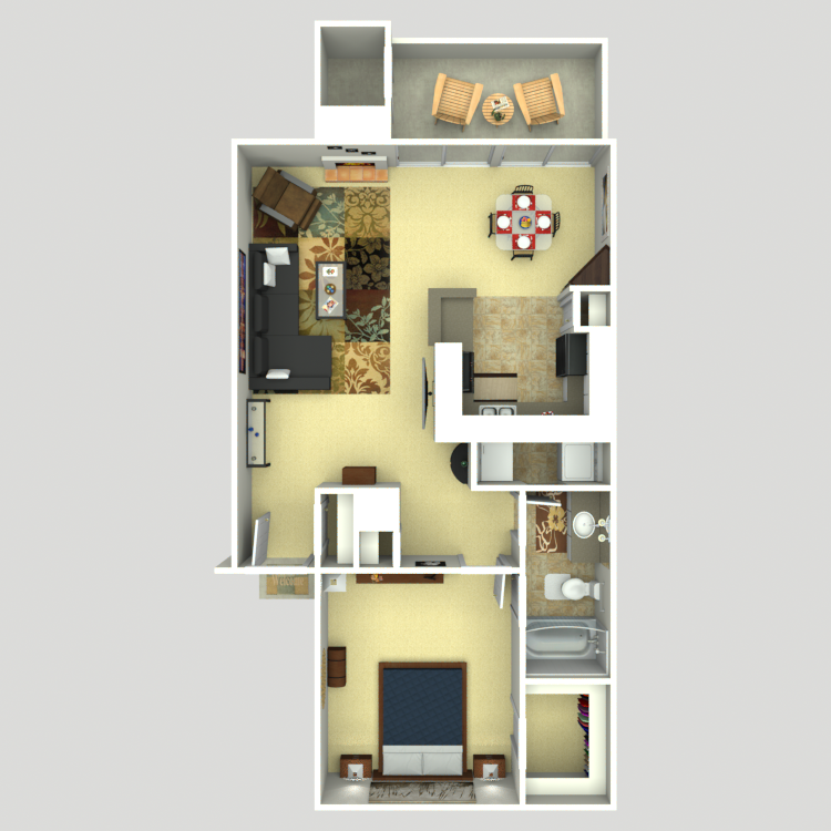 781 sq. ft. A3 floor plan