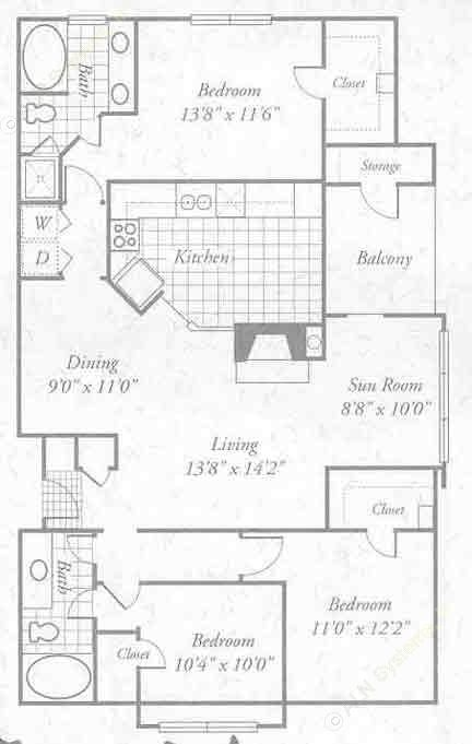 1,449 sq. ft. C1 floor plan
