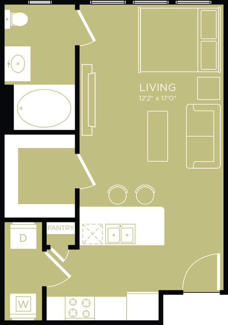 480 sq. ft. Breeze floor plan