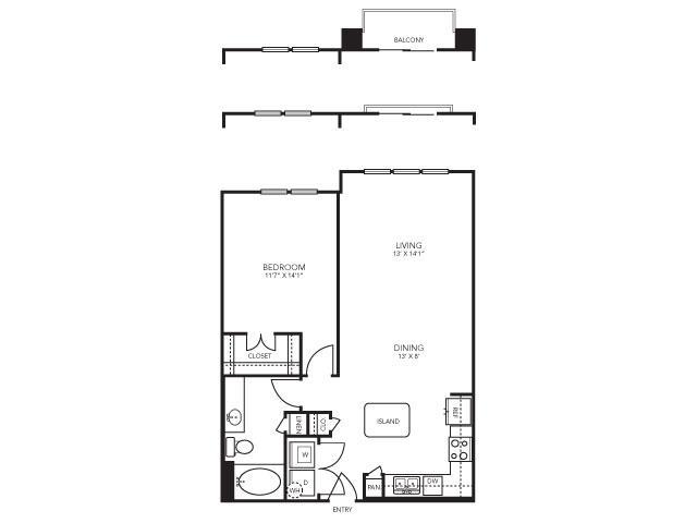 823 sq. ft. A6 floor plan