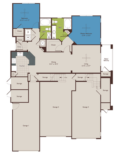 1,181 sq. ft. B1 floor plan