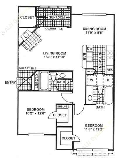 1,033 sq. ft. floor plan