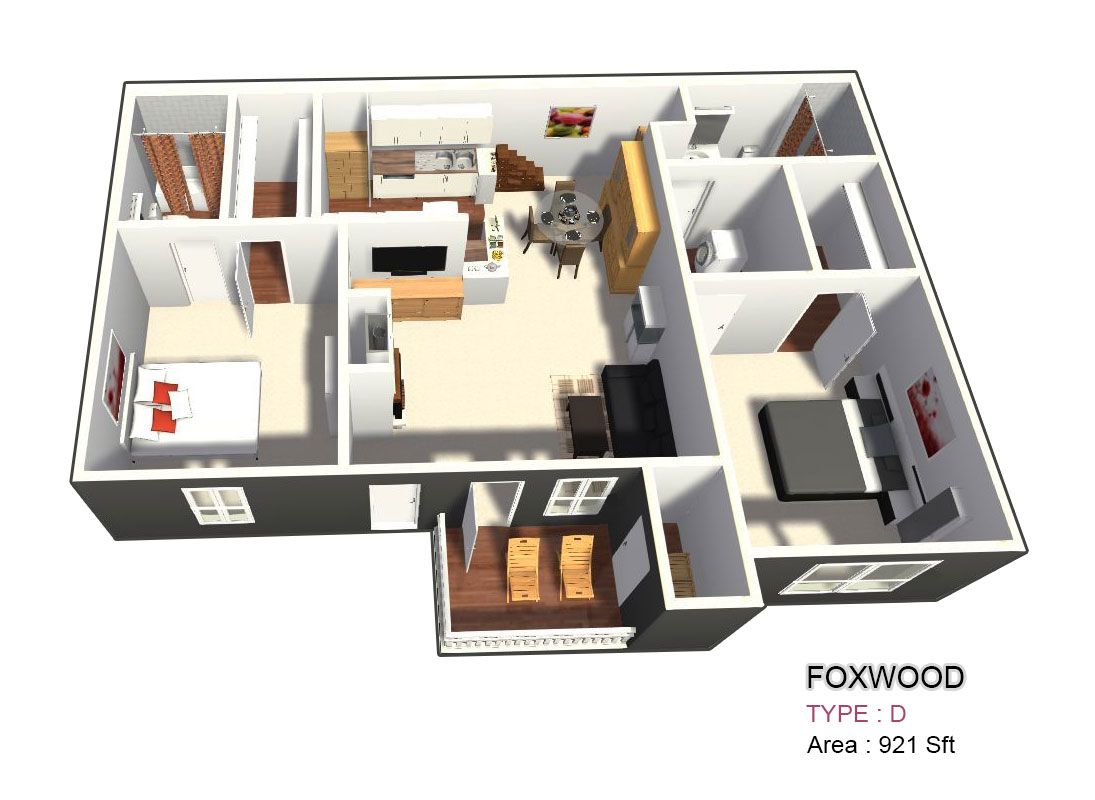921 sq. ft. D floor plan