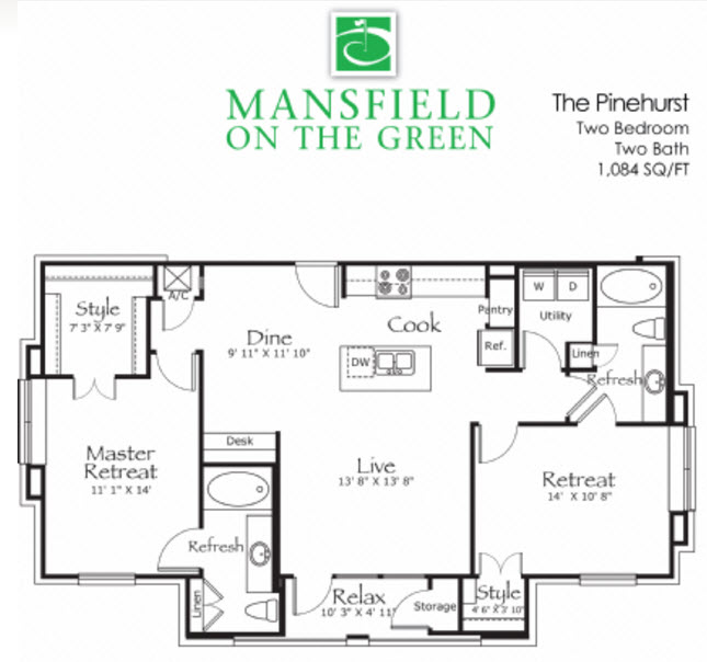 1,084 sq. ft. Pinehurst floor plan