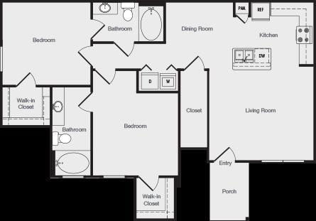 1,066 sq. ft. B1 floor plan