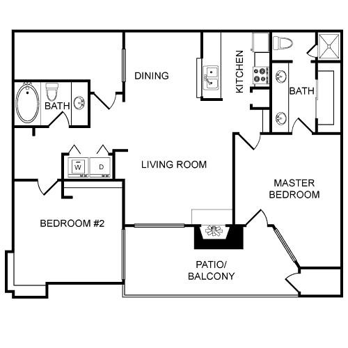 1,084 sq. ft. Durham floor plan