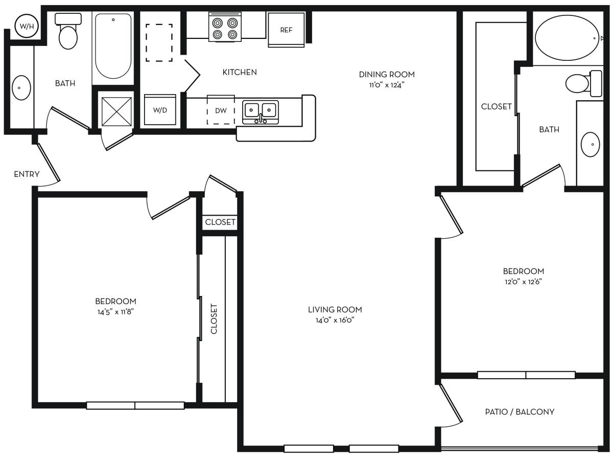 1,207 sq. ft. B2 floor plan