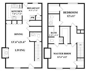1,172 sq. ft. C2 floor plan