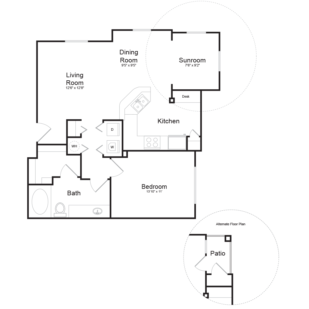 797 sq. ft. A2 floor plan
