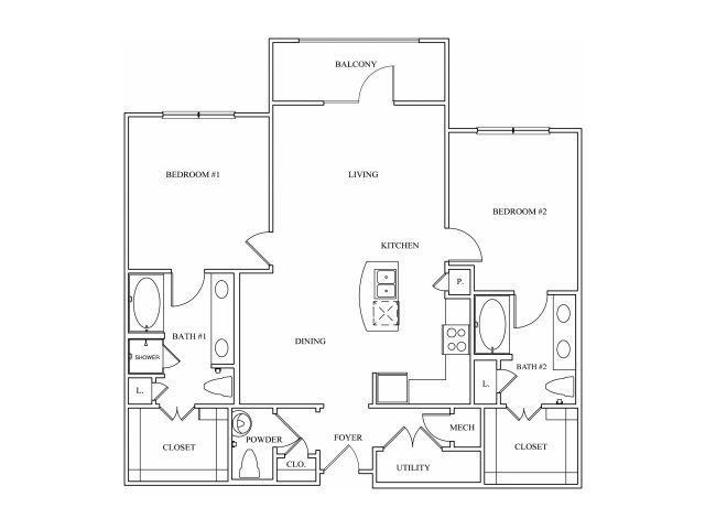1,158 sq. ft. B3 floor plan