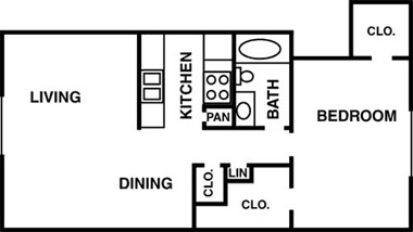 720 sq. ft. to 735 sq. ft. floor plan