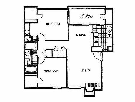 1,000 sq. ft. B2 floor plan