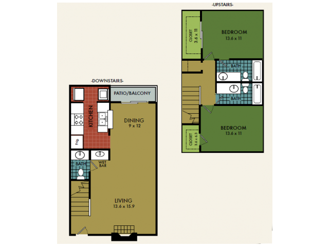 1,192 sq. ft. floor plan