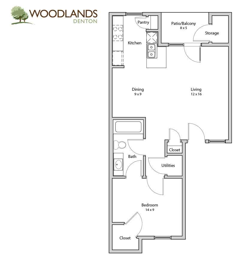 630 sq. ft. Mesquite floor plan