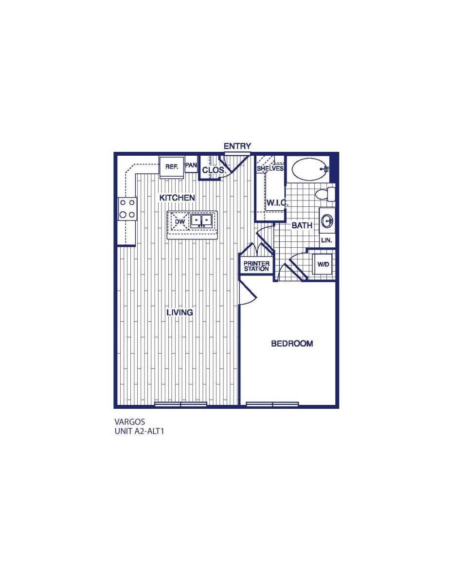 763 sq. ft. A2 ALT 1 floor plan