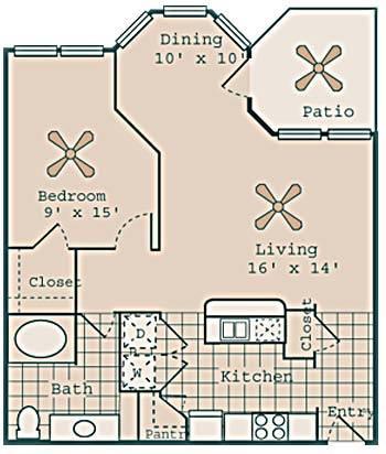 806 sq. ft. Valentino floor plan
