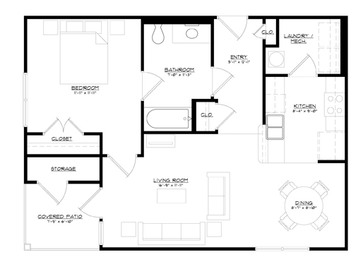 776 sq. ft. 30% floor plan